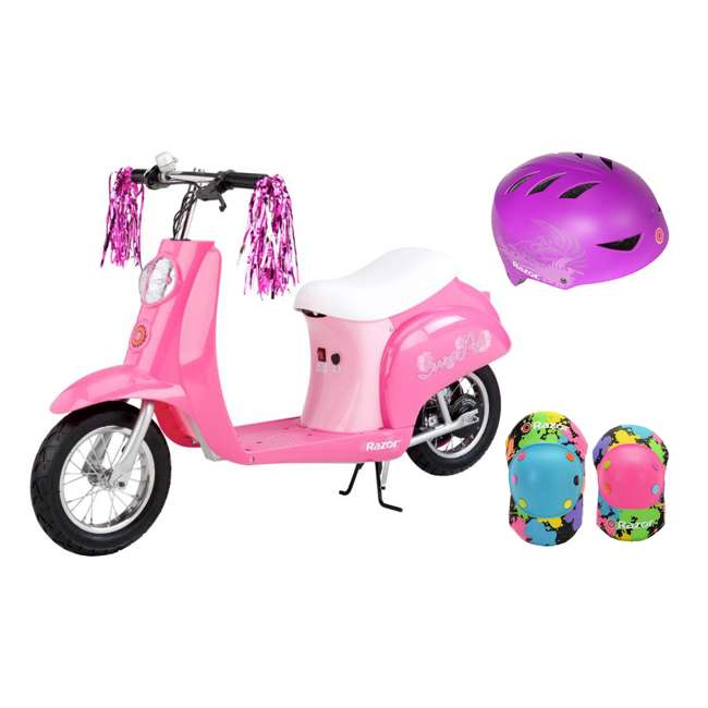 15130659 + 97973 + 96761 Razor Pocket Mod Mini Electric Scooter, Pink w/ Purple Helmet & Elbow/Knee Pads