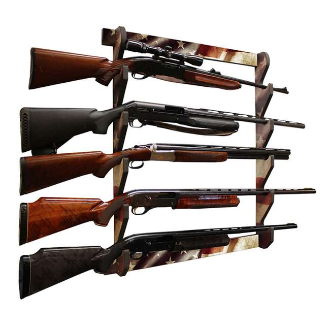 38-4046 Rush Creek Creations 38-4040 American Cherry Wooden 3 Gun Mounted Wall Rack 1