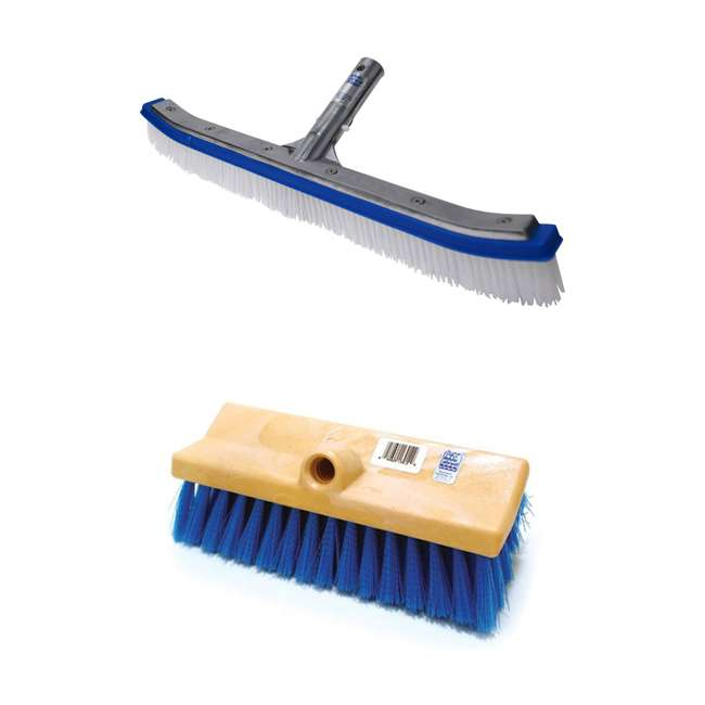 B3518 + B3012 Blue Devil 18 In Pool Wall Cleaning Poly Brush   10 In Dual Deck and Acid Brush