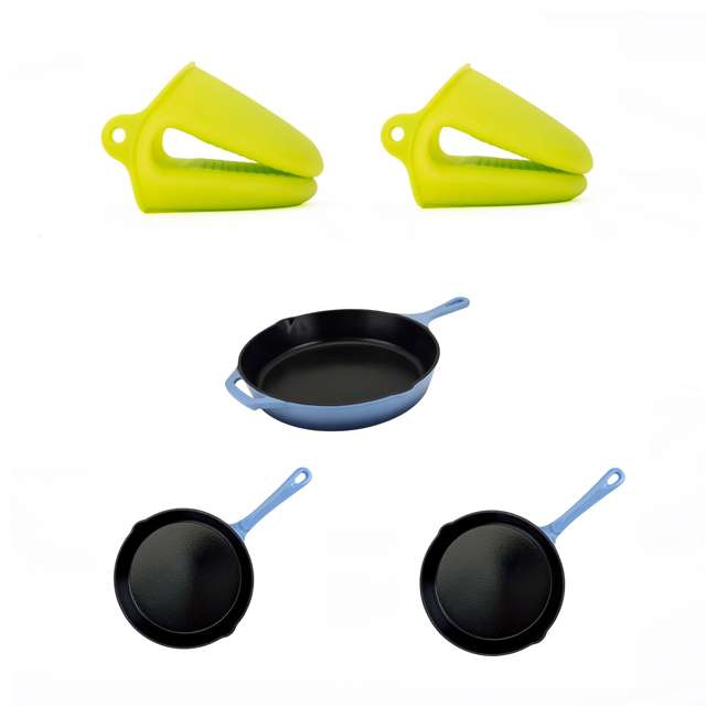 AI23790 + HAR110 + HAR109 + HAR111 Hamilton Beach Pot Holders + 12 Inch, 10 Inch and 8 Inch Cast Iron Frying Pans