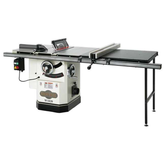 WOOD1820 Shop Fox W1820 3-HP Cabinet Table Saw with Riving Knife and Long Rails, White
