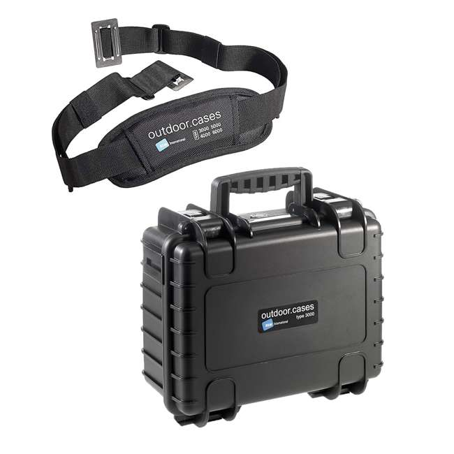 3000/B/SI + CS/3000 B&W International Plastic Outdoor Case w/ Removable SI Foam & Shoulder Strap 5