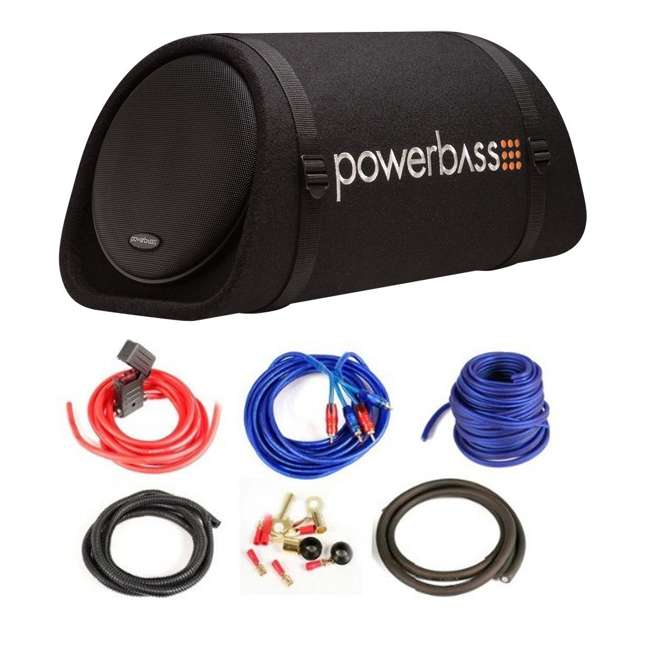 PowerBass BTA8 8-Inch 300W Loaded Amplified Subwoofer Tube Enclosure with  Amp Kit