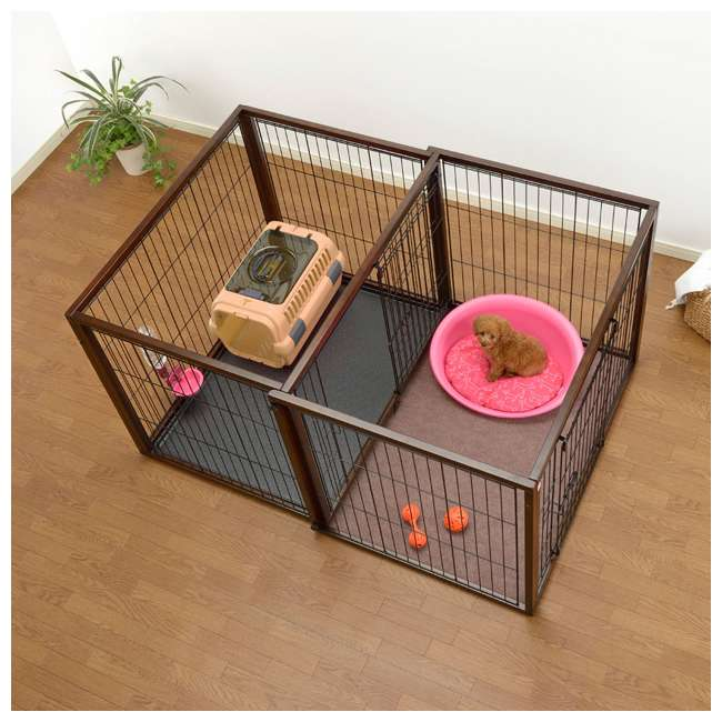 94925 Richell 94925 Flip to Play Medium Size 41 x 29.5 x 31.1 inch Wooden Pet Crate 4
