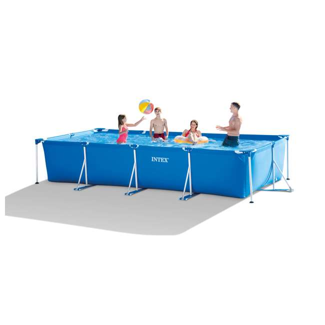 28273EH Intex 14.75ft x 7.3ft x 33In Rectangular Frame Above Ground Swimming Pool, Blue 2