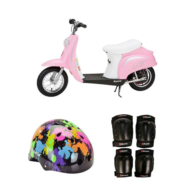 15130610 + 97913 + 96784 Razor Pocket Mod Electric Retro Scooter + Youth Sport Helmet + Elbow & Knee Pads