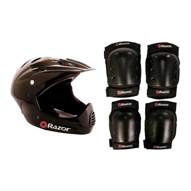 97775 + 96784 Razor Youth Full Face Scooter Helmet + Elbow and Knee Pads