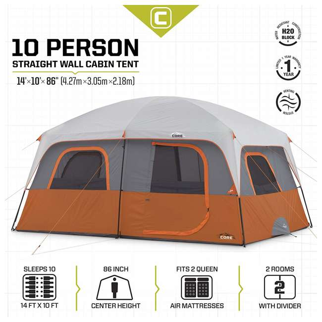 CORE-40067-U-A CORE Outdoor Straight Wall Family Camping 10-Person Cabin Tent, Red (Open Box) 5