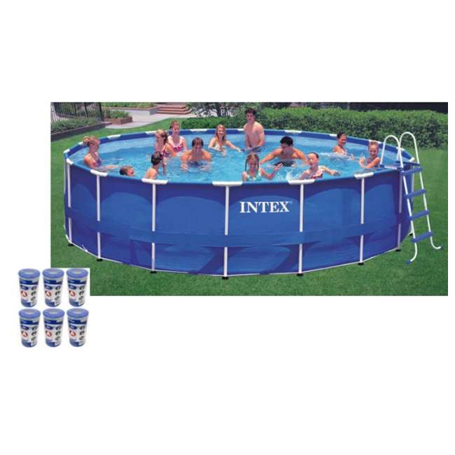 Intex 18 39 X 48 Metal Frame Swimming Pool Set With 1500 Gfci Pump 28253eh 29000e 6pk