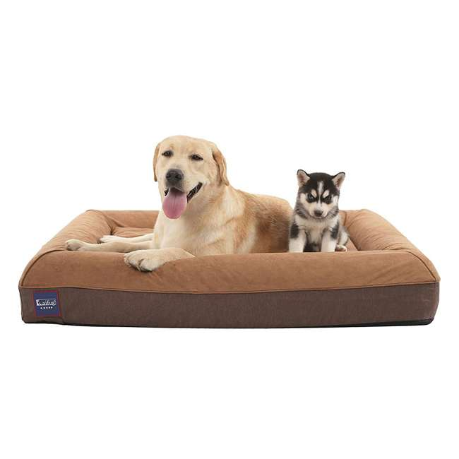 M1222 Laifug Large Waterproof Memory Foam Dog Bed Mattress, Chocolate 1