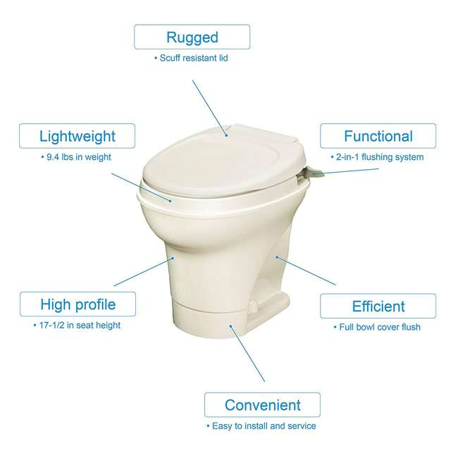 31668 Thetford 31668 Aqua Magic V Hand Flush RV Travel High Profile Toilet, Parchment 2