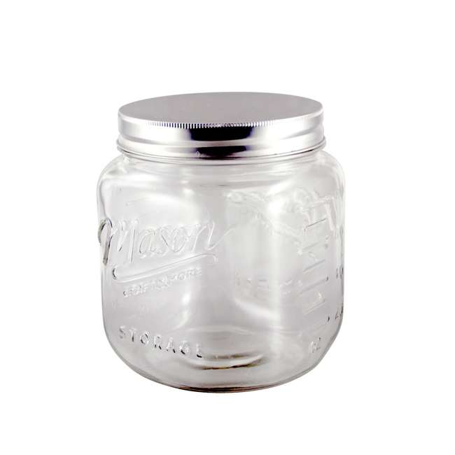 GH-50873 Grant Howard 50873 Jumbo 92 Ounce Wide Mouth Mason Embossed Glass Storage Jar