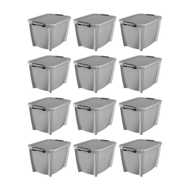 12 x T20GSLWH Life Story 20-Gallon Storage Bin with Handles, Gray (12 Pack)