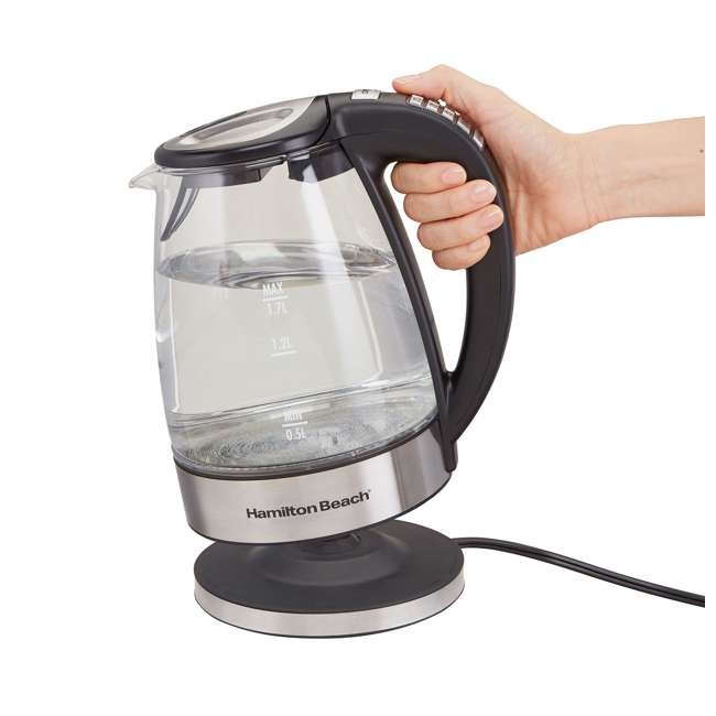 40941-HB Hamilton Beach 1.7 Liter Clear Glass Programmable Electric Tea Kettle 4