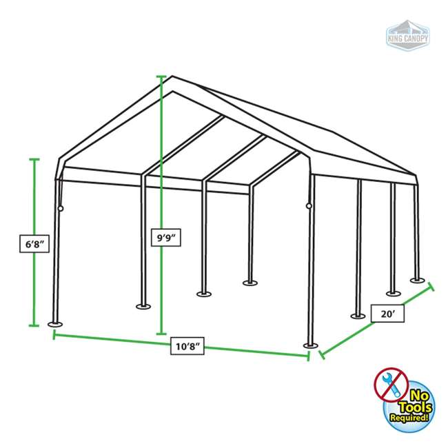 C81020PC King Canopy 10 x 20 Foot Universal Canopy, White 1