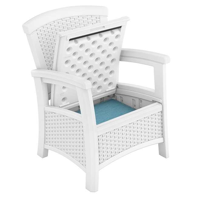 BMDB3010W + BMWB5000W + 2 x BMCC1800W Suncast Patio Coffee Table, Loveseat w/ Storage, Club Chair w/ Storage (2 Pack) 11