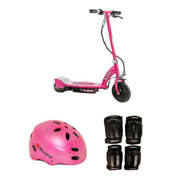 13111261 + 97783 + 96784 Razor Electric Power Kids Scooter, Pink & Youth Sport Helmet & Elbow & Knee Pads
