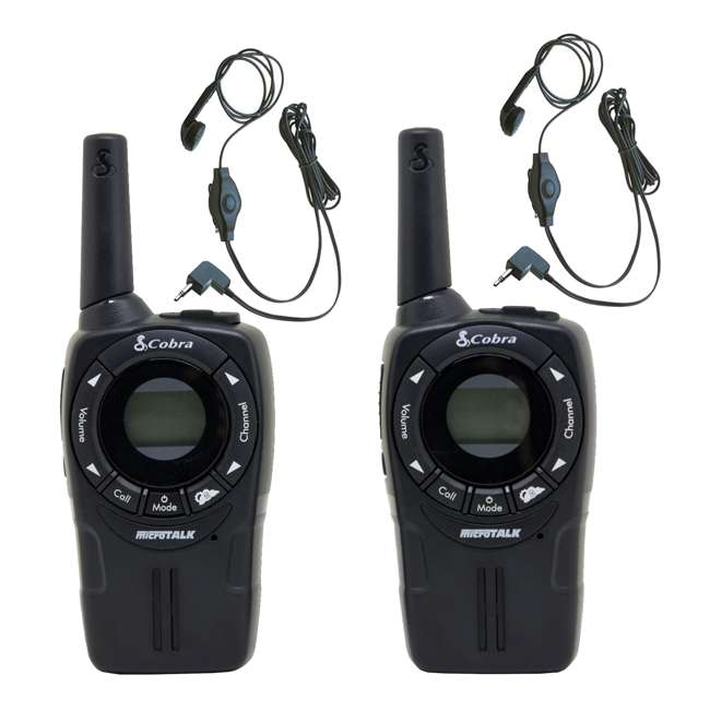 CXT235 Cobra CXT235 MicroTalk 20 Mile FRS/GMRS Walkie Talkie 2-Way Radios (2) + Headsets (2)