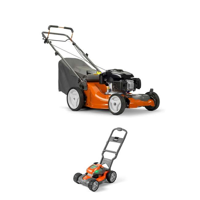 HV-WB-961480061 + HV-TOY-589289601 Husqvarna Front Wheel Drive Self Propelled Gas Lawn Mower + Kids Toy Lawn Mower