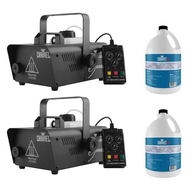H1600 + 2 x FJU CHAUVET DJ Hurricane 1600 2.4L Fog Machine (2 Pack) + Fog Juice Fluid (2 Pack)