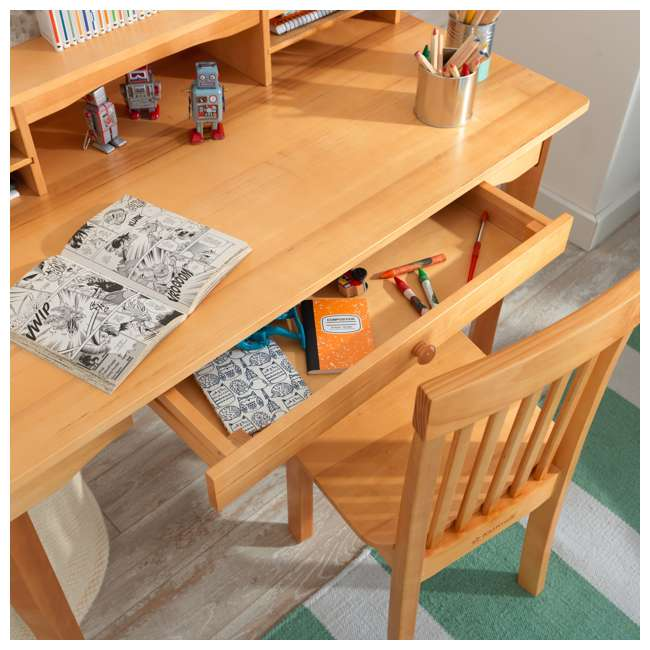 26707 KidKraft Avalon Wooden Kids Room Study Desk with Hutch & Chair Set, Natural 6