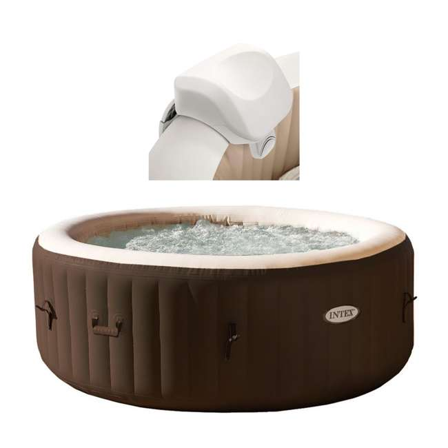 28505E + 28403VM Intex 28403VM Pure Spa 4-Person Inflatable Hot Tub With Headrest