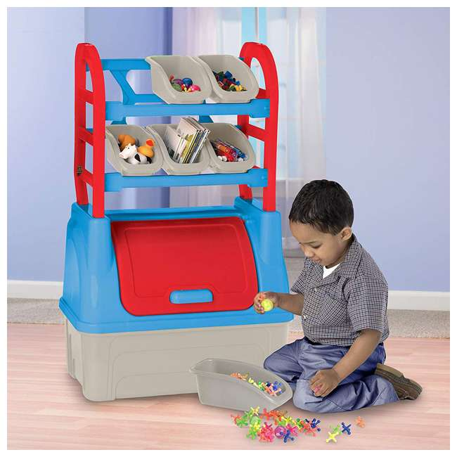 APT-12200 American Plastic Toys Kids Toy Organizer Storage Chest Box with Removable Bins 1