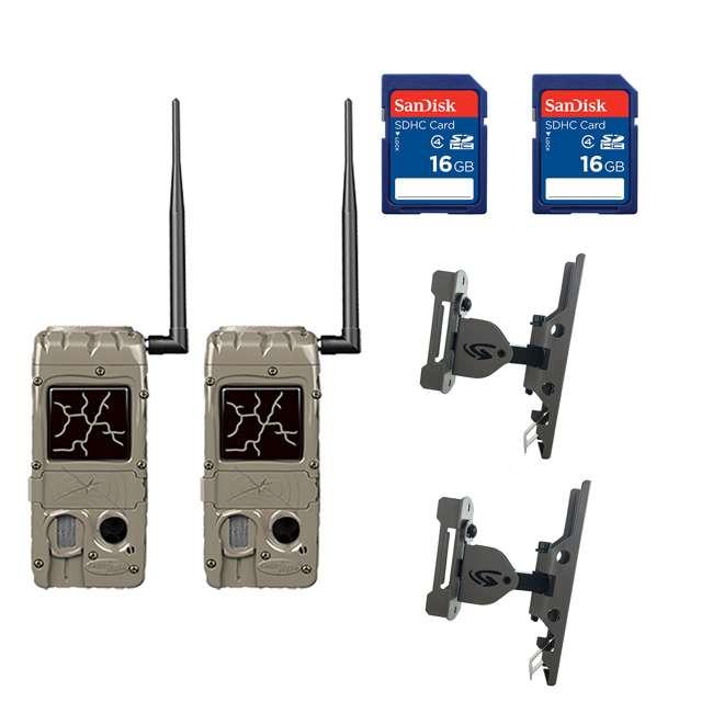 G-5079 + 2 x SD4-16GB-SAN +x3488GENIUSPTLMOUNT Cuddeback Power House Black Flash Trail Camera & 16GB Memory & Mount (2 Pack)