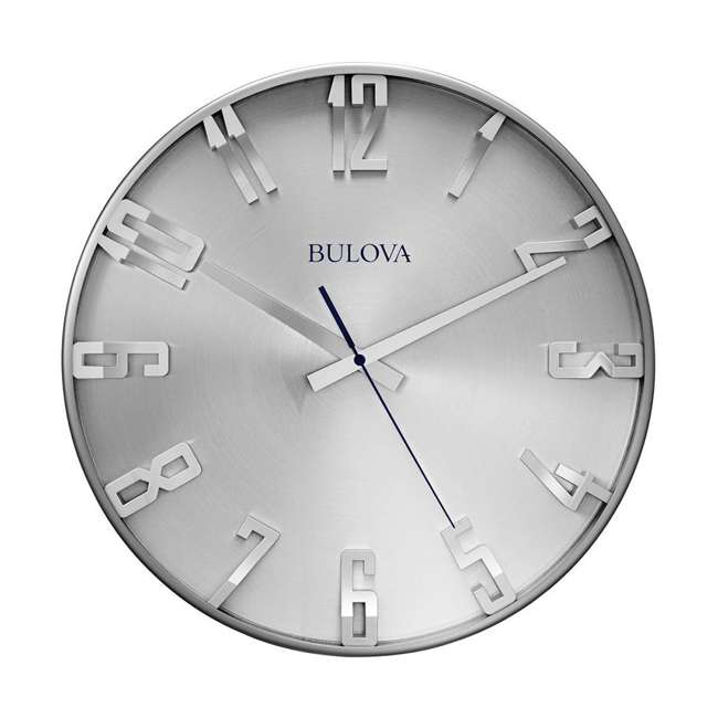 C4846 Bulova Clocks C4846 Director 16 Inch Slim Metal Analog Wall Clock, Satin Pewter
