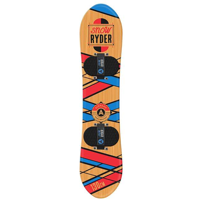 AHSB-1301 Airhead AHSB-1301 Snow Ryder Hard Wood 130 Cm Youth Kids Snowboard, Red/Blue