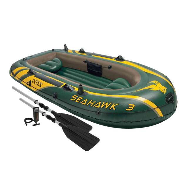 68380EP + 2 x 68631E Intex Seahawk 3 Inflatable raft Set and 2 Trolling Motors 1