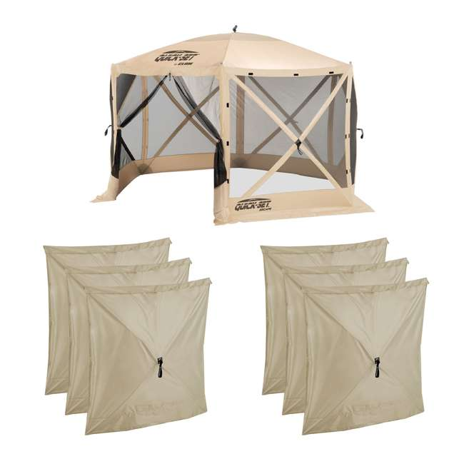 CLAM-ES-12817 + 2 x CLAM-WP-114245 Clam Quick Set Canopy Shelter + Wind & Sun Panels (6 pack)