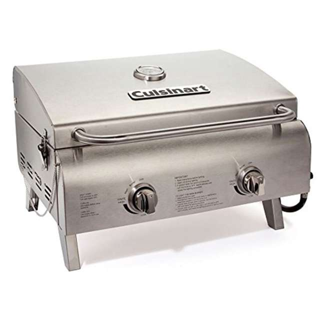 CGG-306 Cuisinart Chef's Style Stainless Two Burner Tabletop Propane Gas Grill Silver