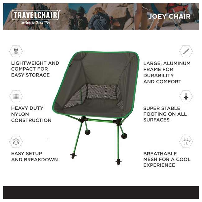 7789G TravelChair 7789 Joey Chair Portable Compact Camping Hunting Fishing, Green 1