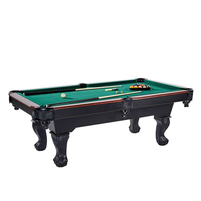 BLL090_128P Lancaster 90-Inch Full Size Green Pool Table w/ Leather Pockets, Cues, and Chalk