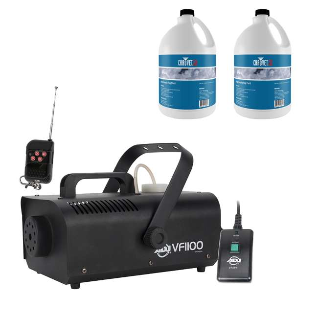 VF1100 + 2 x HDF ADJ VF1100 Portable Fog Machine w/ 1 Gallon of High Density Fog Juice (2 Pack)