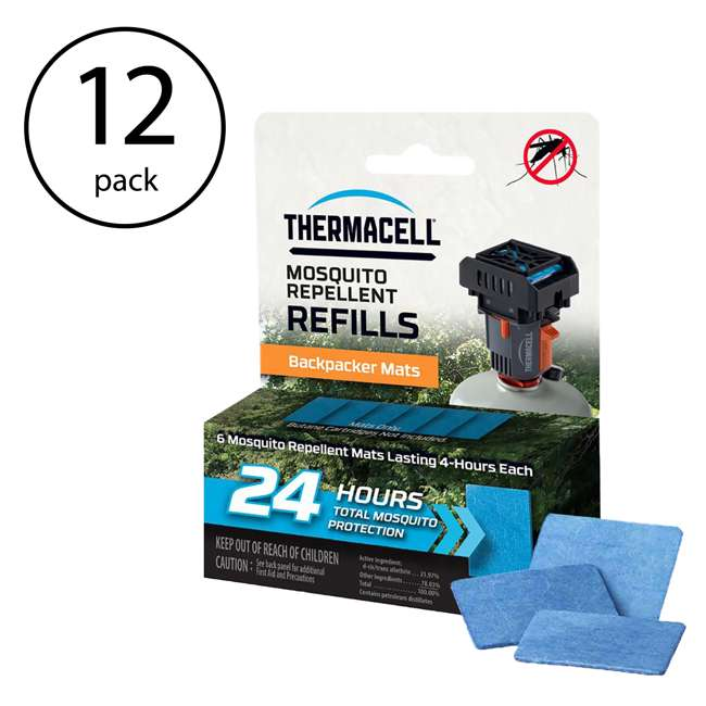 12 x M24 Thermacell Backpacker Mosquito Repeller Mat-Only Refill, 24 Hours (12 Pack)