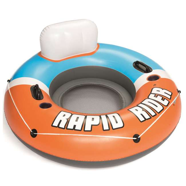 43116E-BW-NEW-U-A Bestway CoolerZ Rapid Rider Inflatable River Tube, Orange (Open Box) (2 Pack) 2