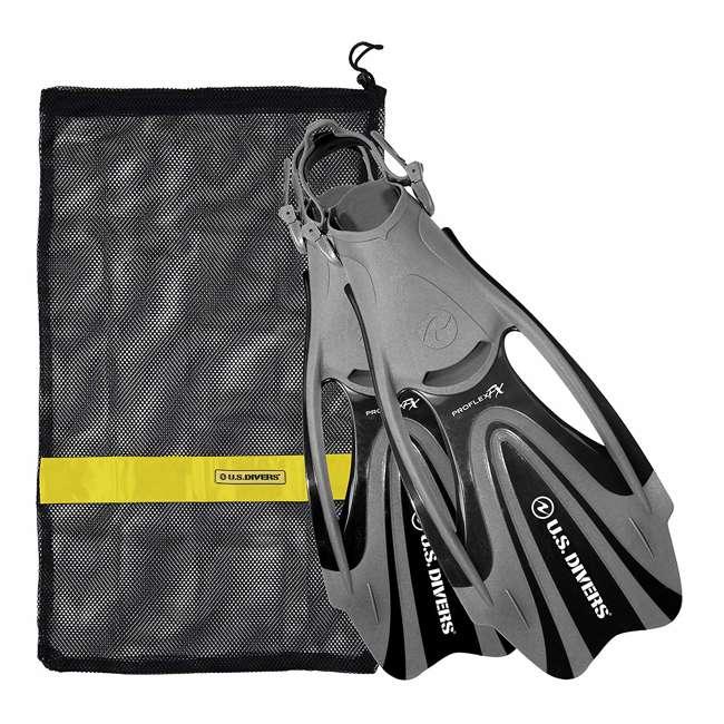 FA328O0115M U.S. Divers Proflex FX Snorkeling Set Size Medium Diving Fins w/ Mesh Bag, Black