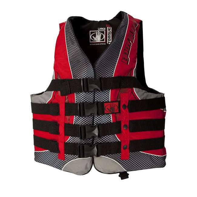 12252-L-BLKRED Body Glove Torque 2 Mens Adult Large Nylon 4 Belt PFD Life Jacket, Red/Black