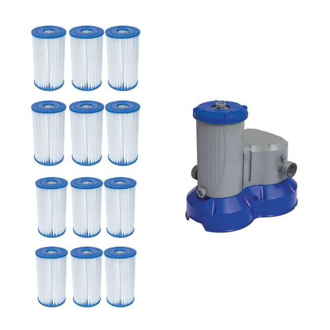 12 x 58095E-BW + 58392E-BW Bestway Pool Filter Pump Replacement Cartridge (12 Pack) + Above Ground Pool Filter Pump