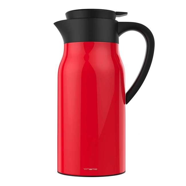 VRM020036N Vremi Carafe Commander 1.5 Liter Insulated Hot Beverage Tea & Coffee Carafe, Red