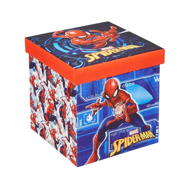 520018-001 Fresh Home Elements 15-Inch Portable Toy Chest & Ottoman Cube, Marvel Spider-Man