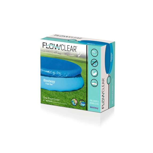 58034E-BW-U-A Bestway Flowclear Fast Set 12-Foot Round Pool Cover, Blue (Open Box) (2 Pack) 3