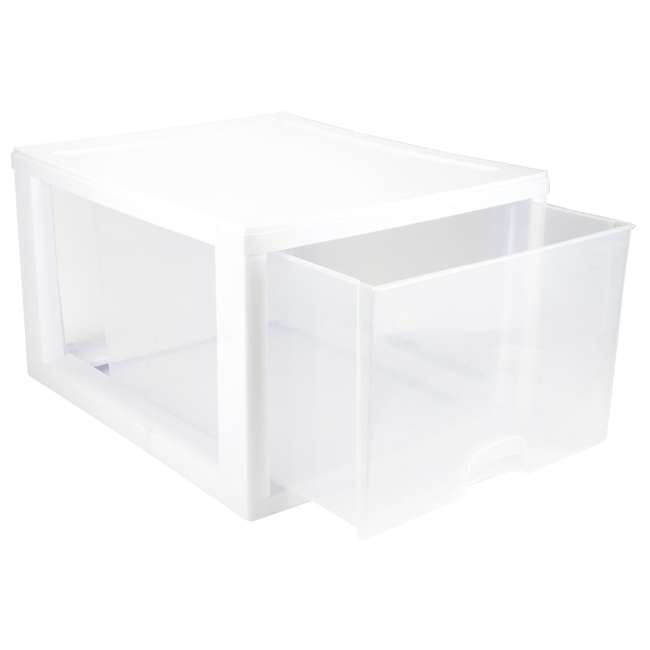 32 x 23108004 Sterilite 2310 27-Quart Single Stacking Drawer - Clear (32 Pack) 3