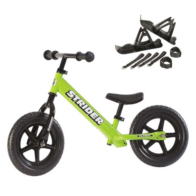 ST-M4GN + PSKISET-12-BK Strider 12 Classic Balance Kids 18 - 36 Months Bike, Green + Strider Snow Ski Set