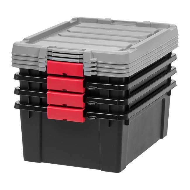 586526-4PK IRIS USA 10 Gallon Hard Plastic Store It All Tote Storage Box, Black (4 Pack) 1