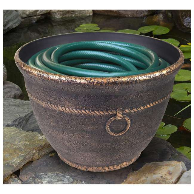 LBG-1925 Liberty Garden 1925 Banded High Density Resin Hose Pot w/ Drain, Antique Bronze 1