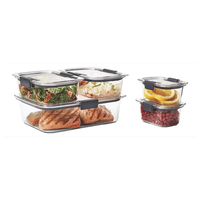 1976520 Rubbermaid Brilliance 10 Piece Plastic Food Storage Container Set, Clear/Gray 2