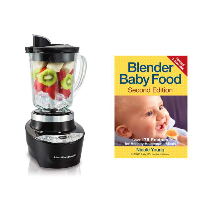 56206 + BABYFOODBLEND Hamilton Beach Wave Action Powerful Smoothie Blender and Baby Food Cookbook